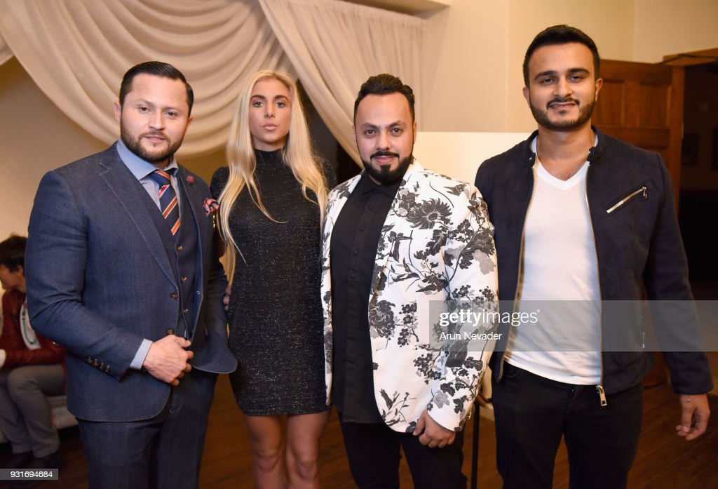 Oskar Rivera, Renee Stahowiak, Hani Rawas and Aziz Alzaid at Los Angeles Fashion Week Powered by Art Hearts Fashion LAFW FW/18 10th Season Anniversary - Backstage and Front Row - Day 2 at The MacArthur on March 13, 2018 in Los Angeles, California.