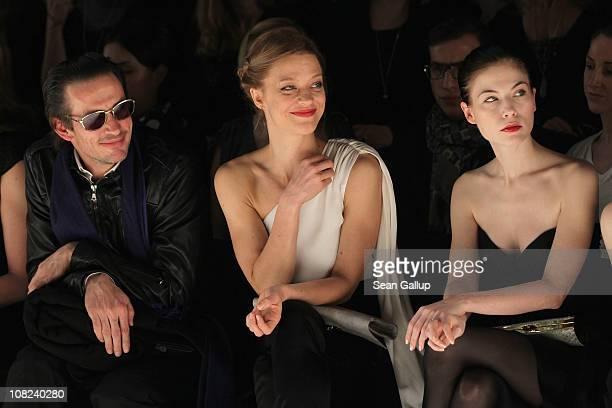 Oskar Roehler Heike Makatsch and Nora von Waldstaetten sit in front row at the Kaviar Gauche Show during the Mercedes Benz Fashion Week Autumn/Winter...