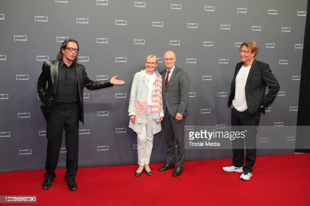Oskar Roehler, Peter Tschentscher, Eva-MariaTschentscher and Oliver Masucci attend the Hamburg film festival opening with the premiere of the movie...