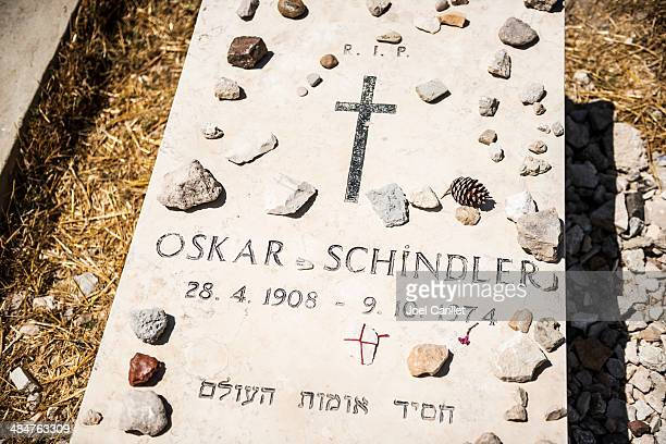 oskar schindler grave in jerusalem - oskar schindler stock pictures, royalty-free photos & images