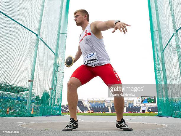 Oskar Stachnik from Poland competes in men's discus throw during the IAAF World U20 Championships at the Zawisza Stadium on July 24 2016 in Bydgoszcz...