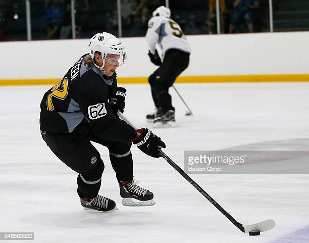 Oskar Steen moves the puck during Bruins development camp at Ristuccia Arena in Wilmington Mass on July 12 2016