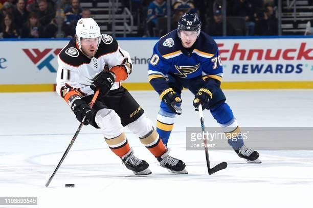 Oskar Sundqvist of the St. Louis Blues pressures Daniel Sprong of the Anaheim Ducks at Enterprise Center on January 13, 2020 in St. Louis, Missouri.