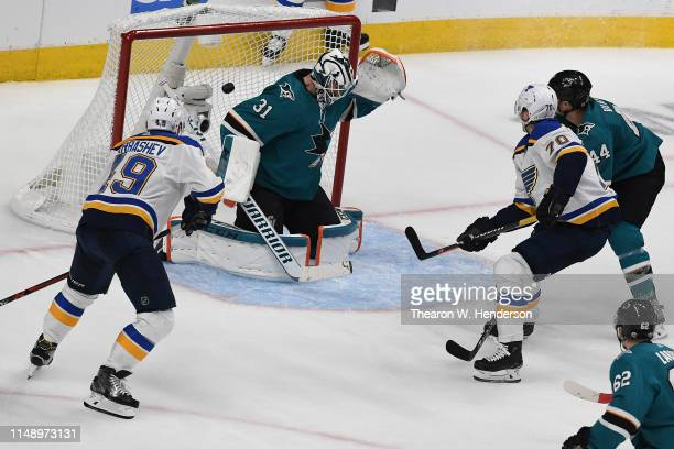 Oskar Sundqvist of the St Louis Blues scores a goal against the San Jose Sharks in the third period of Game Two of the Western Conference Final...