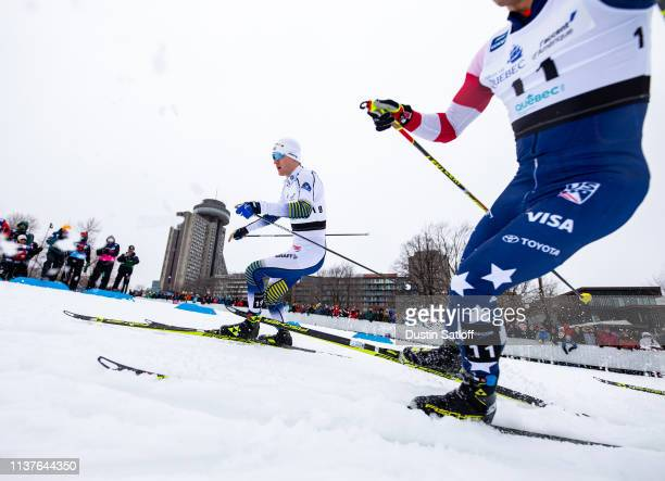 Oskar Svensson of Sweden competes in the sprint quarterfinal heat during the FIS Cross Country Ski World Cup Final on March 22 2019 in Quebec City...