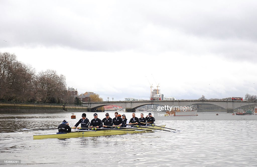 Oskar Zorrilla (Cox), Malcolm Howard (Stroke), Constantine Louloudis, Karl Hudspith, Paul Bennett, Sam O'Connor, Alex Davidson, Geordie Macleod and Patrick Close (Bow) of The Oxford Blue Boat in action prior to the training race against German Eight on the River Thames on March 17, 2013 in London, England.