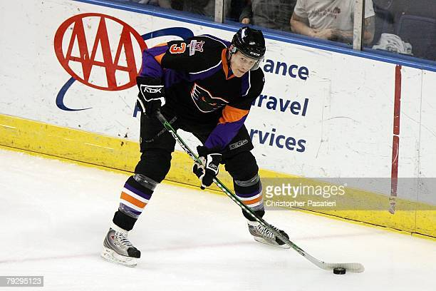 Oskars Bartulis of the Philadelphia Phantoms skates during the first period against the Bridgeport Sound Tigers on January 23, 2008 at the Arena at...
