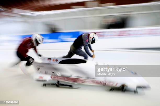 Oskars Kibermanis of Latvia and his teammate during a training session ahead of 2019 IBSF World Cup Bobsled & Skeleton at the Mt. Van Hoevenberg...