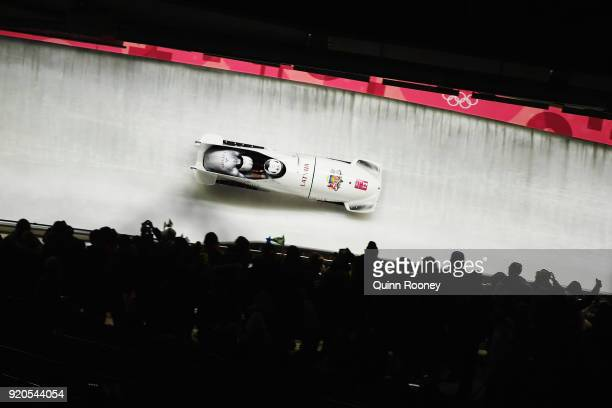 Oskars Melbardis and Janis Strenga of Latvia make a run during the Men's 2Man Bobsleigh on day 10 of the PyeongChang 2018 Winter Olympic Games at...