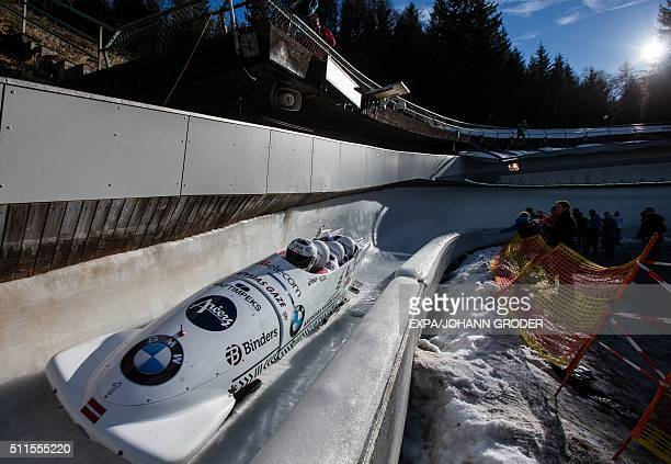 Oskars Melbardis Daumants Dreiskens Arvis Vilkaste Janis Strenga of Latvia compete during FourMan Bobsleigh 3rd run of Bobsleigh and Skeleton World...