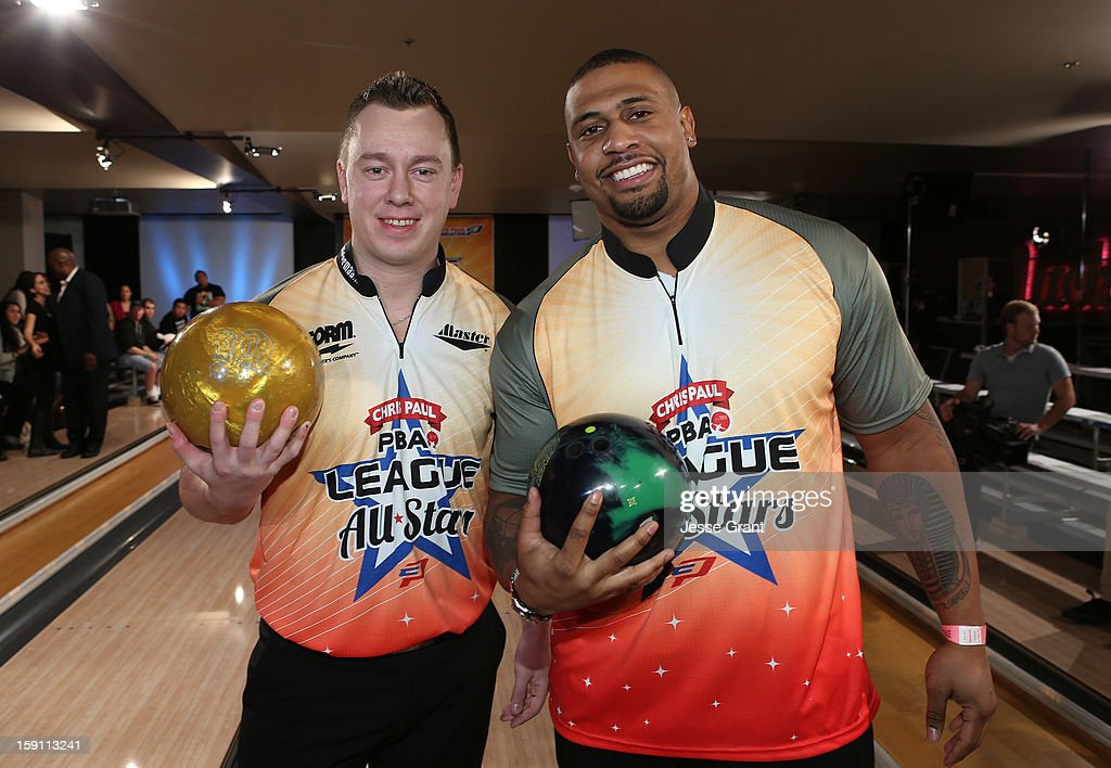 Osku Palermaa and LaMarr Woodley attend the 2013 Chris Paul PBA League All-Stars Invitational Bowling Tournament at Lucky Strike Lanes at L.A. Live on January 7, 2013 in Los Angeles, California.