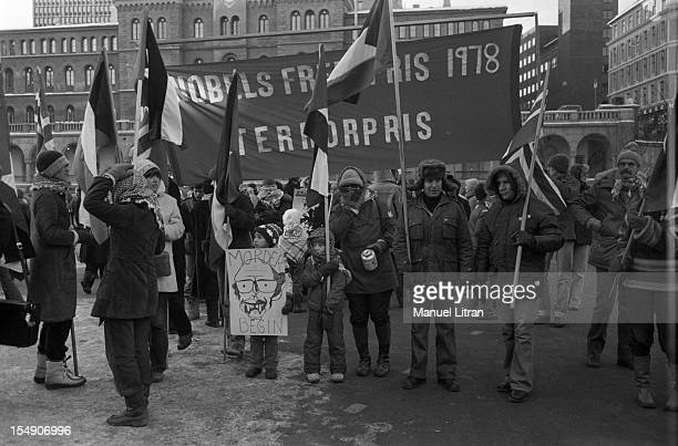 Oslo 11 December 1978 proPalestinian demonstration against the award of the Nobel Peace Anwar Sadat and Menachem Begin in 1978 Protesters near the...