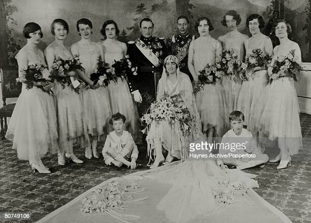 Crown Prince Olav of Norway and Princess Martha of Sweden on their wedding day with the Best Man The Duke of York and the bridal party Crown Prince...
