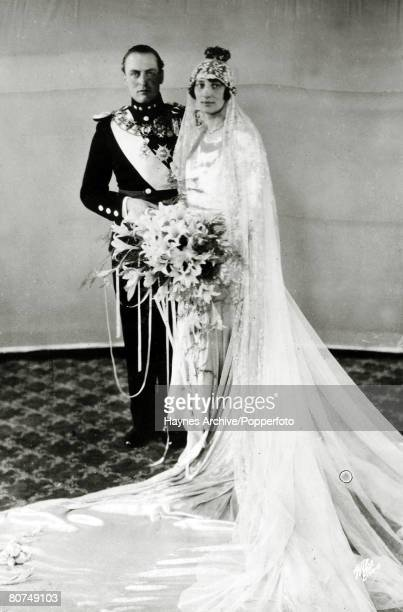 Crown Prince Olav of Norway marries Princess Martha of Sweden in Oslo, Crown Prince Olav succeeded his father King Haakon VII in 1957 becoming King...