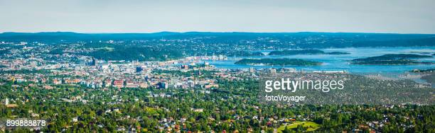 oslo aerial panorama over city centre and green suburbs norway - oslo stock pictures, royalty-free photos & images