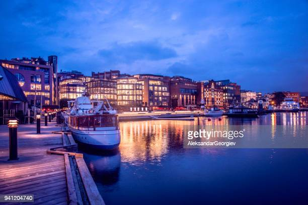Oslo Aker Brygge Harbour and City Hall at Night, Norway