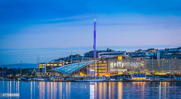 Oslo Aker Brygge waterfront Astrup Fearnley museum illuminated dusk Norway