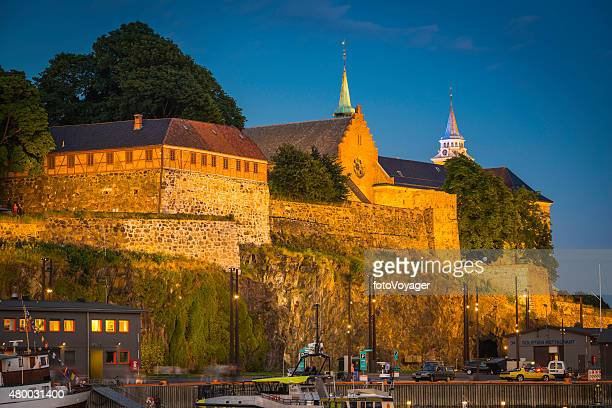 Oslo Akershus Fortress iconic fjord waterfront castle overlooking harbour Norway