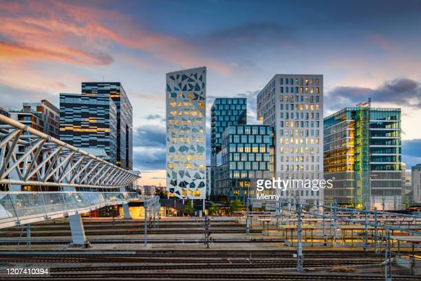 oslo business skyline at sunset twilight, norway - oslo stock pictures, royalty-free photos & images