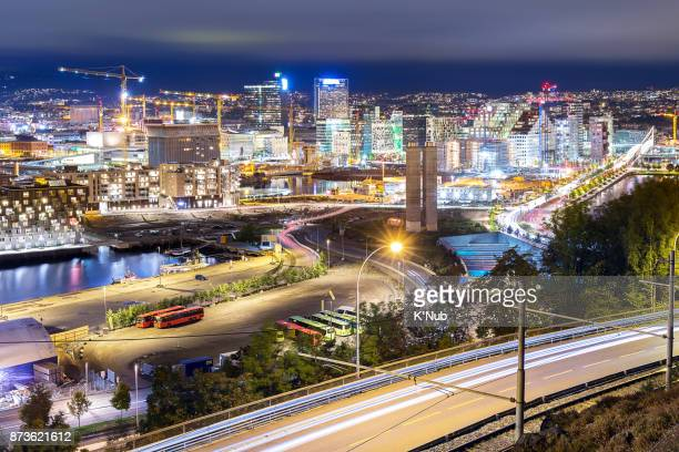 Oslo city, business district, Norway at night from viewpoint on Ekebergsletta mountain