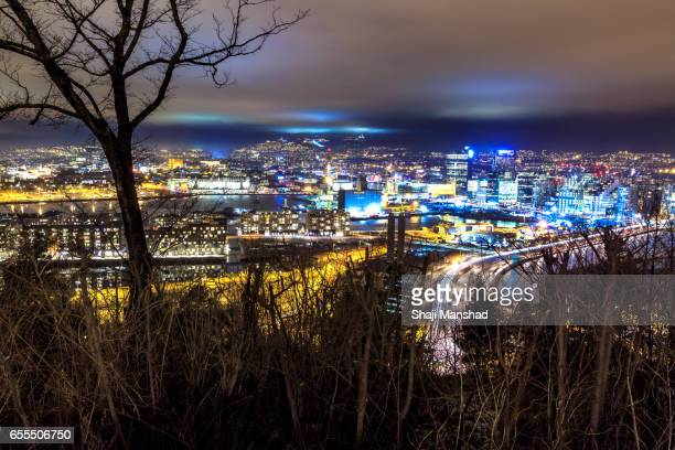 Oslo city view at night from Ekeberg hill