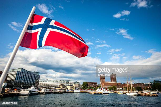 oslo cityscape and norway flag - norwegian flag stock pictures, royalty-free photos & images