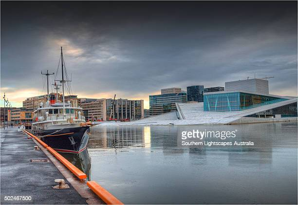 Oslo harbour and waterfront in winter, Norway.