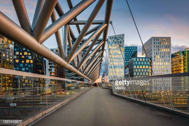 oslo modern skyline norway at dusk - city life stock pictures, royalty-free photos & images