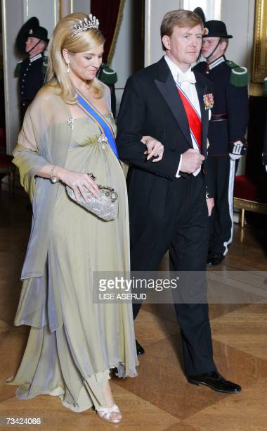 Dutch Princess Maxima and Prince WillemAlexander arrive 24 February 2007 at the gala dinner celebrating the 70th birthday of Norwegian King Harald...