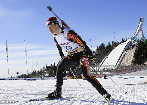German biathlon legend Uschi Disl who is ending her carrer this weekend skies on her way to a 45th place in the season's last 10 km pursuit in the...