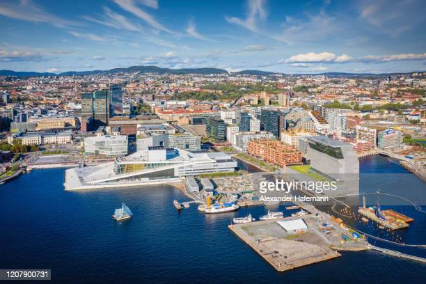 oslo norway harbor cityscape drone point of view - uferpromenade stock-fotos und bilder
