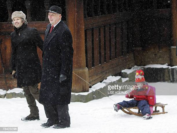 King Harald of Norway visits 24 February 2007 with his soninlaw Ari Behn and his granddaughter Maud Angelica the Norwegian Museum of Cultural History...