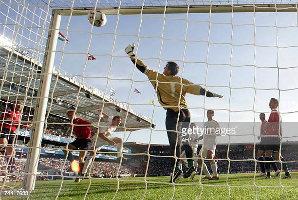 Norway`s Steffen Iversen scores past Hungary`s goalkeeper Zoltan Vegh during their Group C Euro 2008 qualifying match at the Ullevaal Stadium in Oslo...