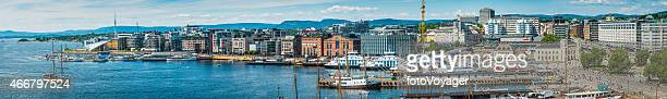 Oslo Norway panoramic view over Pipervika harbour waterfront Aker Brygge