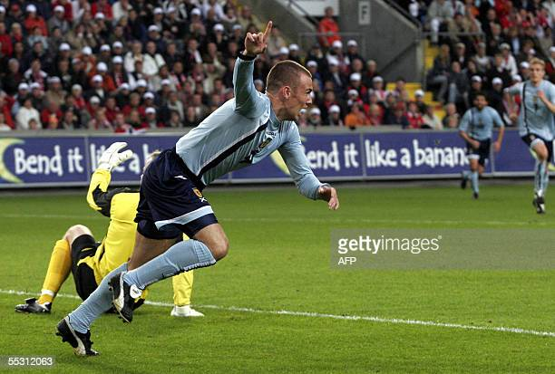 Scotland's Kenny Miller signals his first goal giving Scotland a 10 lead iagainst Norway in the first half of a World Cup qualifying match at...