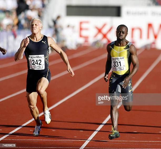 Swden's Johan Wissman wins the 200m event ahead of Zimbabwe's Brian Dzingai at the Golden League in Oslo 15 June 2007 AFP PHOTO / Jon Eeg / Scanpix...