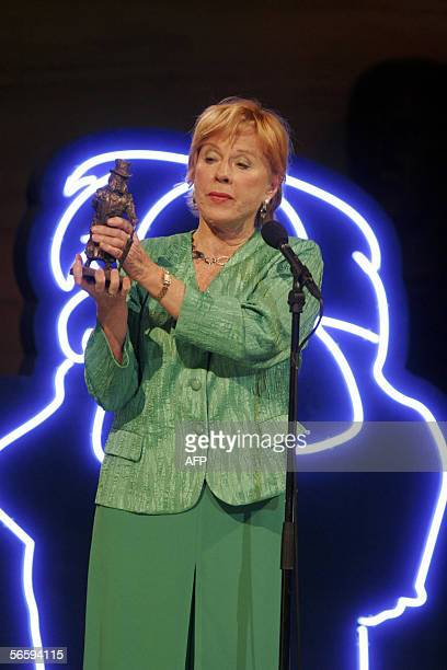 Sweden's Bibi Andersson holds out her Ibsen Centennial Award during a gala celebration in Oslo Saturday January 14 2005 Norway celebrates today the...
