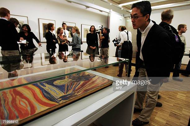 The Edward Munch masterpieces ' The Scream' and 'Madonna' are shown to the press 26 September 2006 in Oslo on the eve of their exhibition at The...