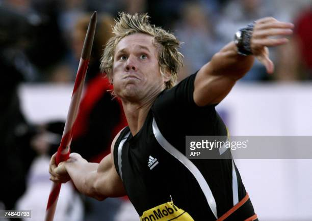 US Breaux Greer in action during the javelin event at the Golden League Exxon Mobil Bislett Games in Oslo 15 June 2007 AFP PHOTO Cornelius Poppe /...