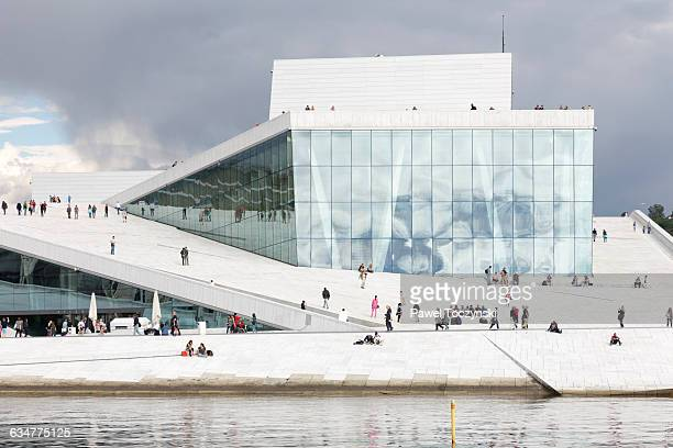 oslo opera house, designed by snøhetta - oslo stock pictures, royalty-free photos & images