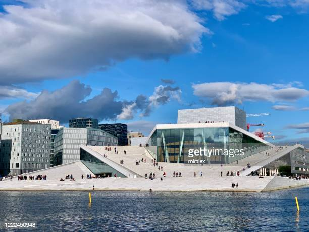 oslo waterfront with oslo opera house - opera stock pictures, royalty-free photos & images