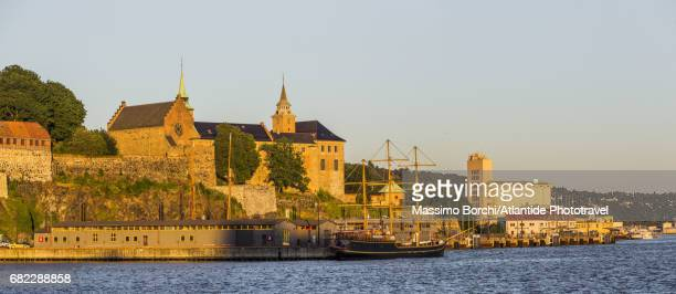 Oslofjorden (Oslo Fjord), the Akershus Fortress and Castle and an industrial area on the background