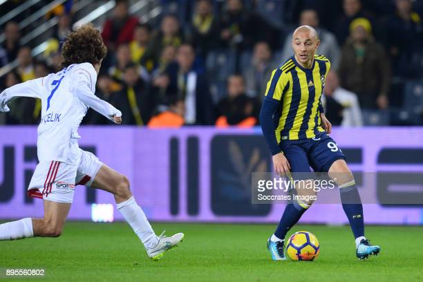 Osman Celik of Karabukspor Aatif Chahechouhe of Fenerbahce during the Turkish Super lig match between Fenerbahce v Karabukspor at the Sukru...