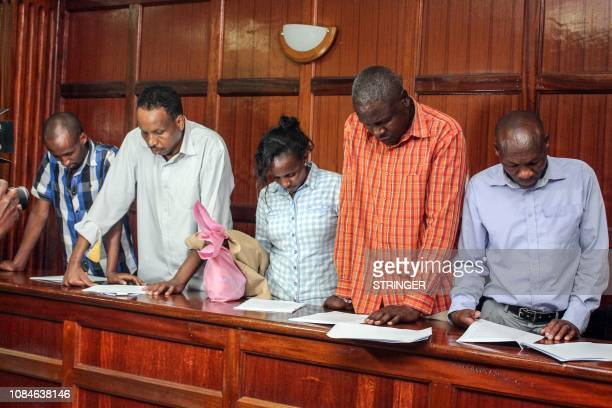 Osman Ibrahim Guleid Abdihakim Gladys Kaari Justus Oliver Muthee and Joel Nganga six suspects arraigned in court in connection with an Islamist...