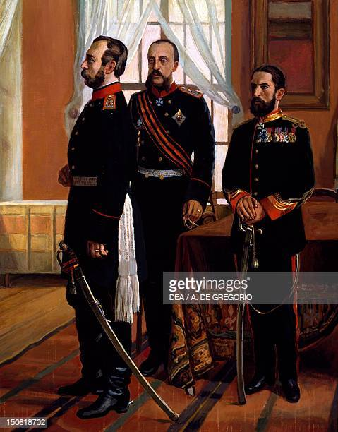 Osman Nuri Pasha surrendering to Tsar Alexander II Detail RussoTurkish War 19th century