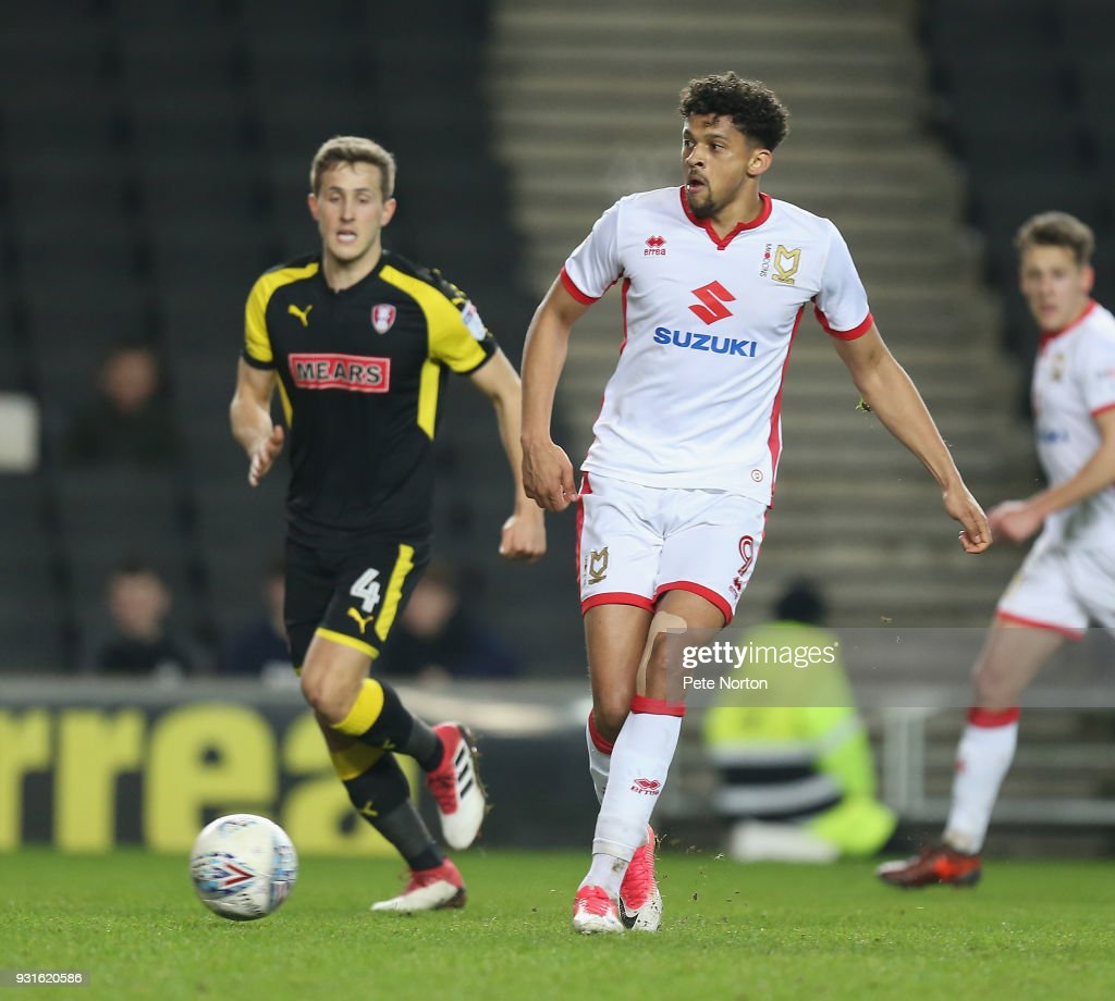 Osman Sow of Milton Keynes Dons in action during the Sky Bet League One match between Milton Keynes Dons and Rotherham United at StadiumMK on March 13, 2018 in Milton Keynes, England.