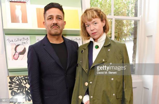 Osman Yousefzada and Anna Maxwell Martin attend the House Of Osman launch party supported by Peroni Ambra on April 25 2018 in London England