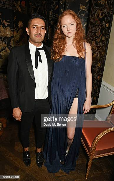 Osman Yousefzada and Lily Cole attend the London Fashion Week party hosted by Ambassador Matthew Barzun and Mrs Brooke Brown Barzun with Alexandra...