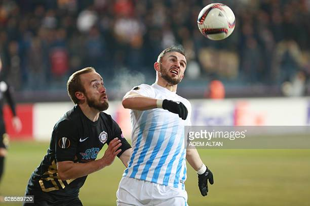 Osmanlispor's Avdija Vrsajevic vies with ZC Zürich Armando Sadiku during the UEFA Europa League group L football match between Osmanlispor and FC...