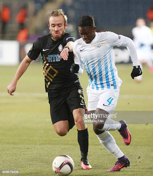 Osmanlispor's Avdija Vrsajevic vies with ZC Zürich Moussa Kone during the UEFA Europa League group L football match between Osmanlispor and FC Zurich...